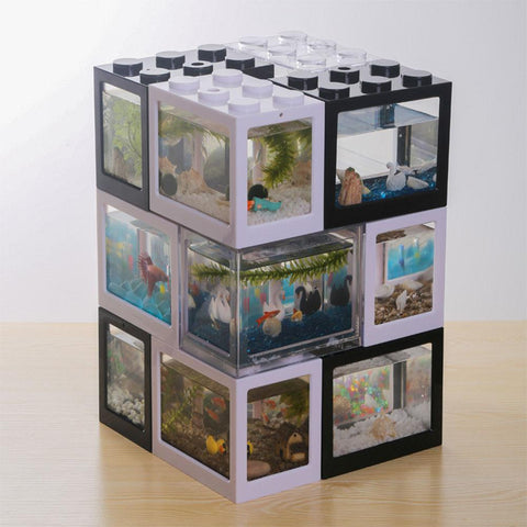 Creative Multicolor Stackable Building Blocks Ecological Small Pet Aquarium