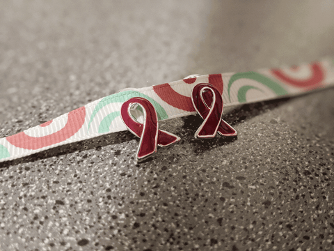 Burgundy Awareness Ribbon Pins (10)