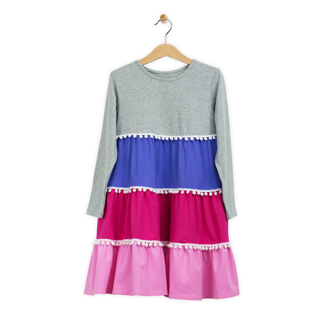 Emilia Girls Long Sleeve Twirl Dress