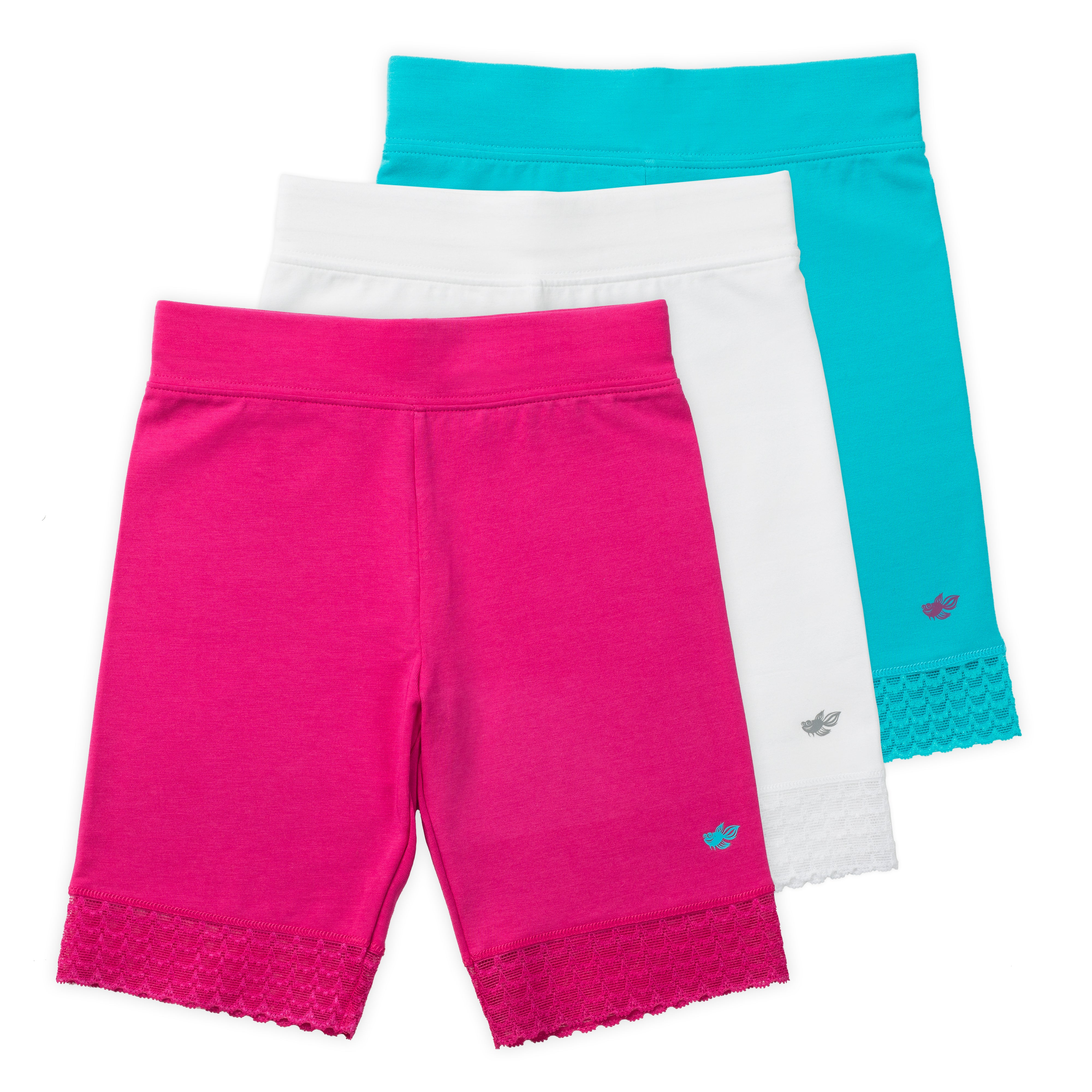 Lucky /& Me Pink and Blue 3-Pack Tagless Lace Trim Jada Girls Capri Leggings Wide Waistband in White Capri Length