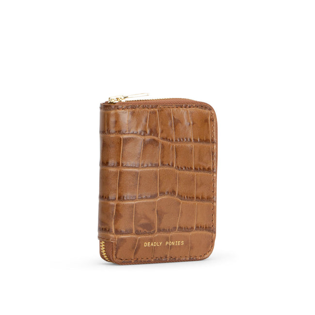 Mini Wallet Croc - Toffee