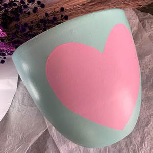 Love Heart Plant Pot ~ Pink & Turquoise ~ B Jewelled Creations - Actually Boutique