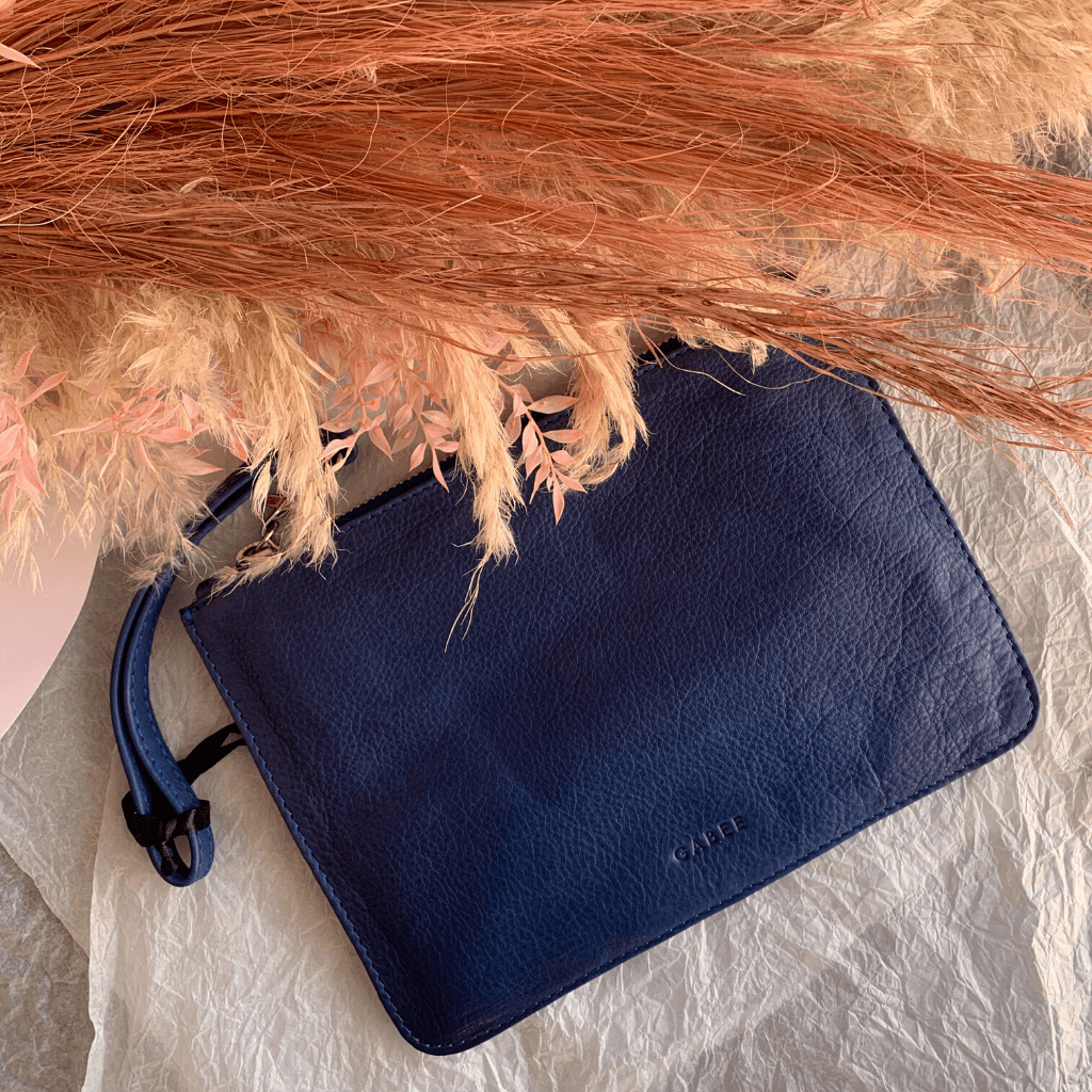 Queens Leather Pouch ~ Denim - Actually Boutique