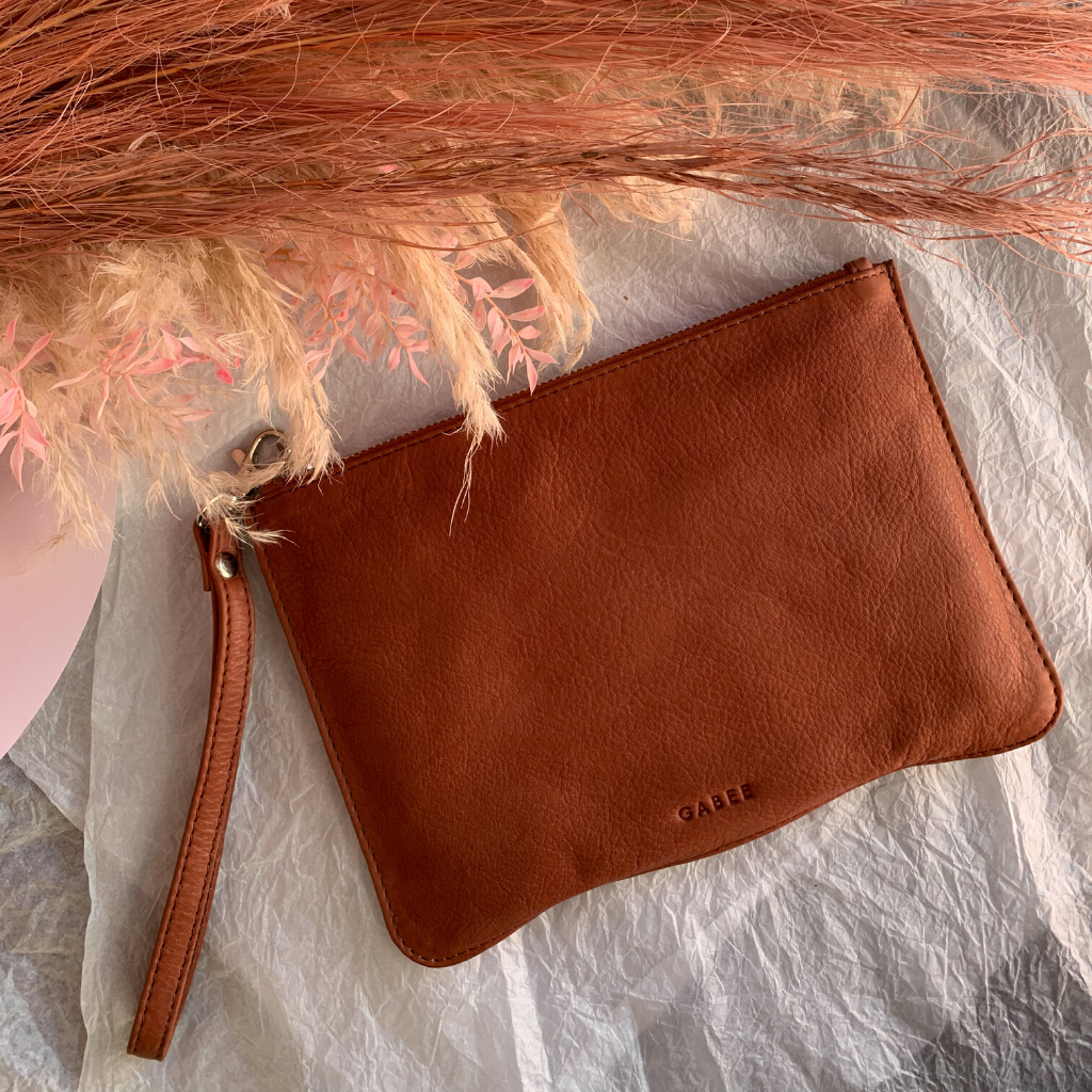 Queens Leather Pouch ~ Clay - Actually Boutique