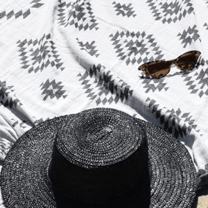 Aztec Turkish Towel/Throw ~ Black & White ~ One Fine Sunday - Actually Boutique