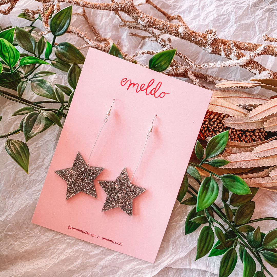 Star Earrings ~ Silver Glitter ~ Emeldo - Actually Boutique