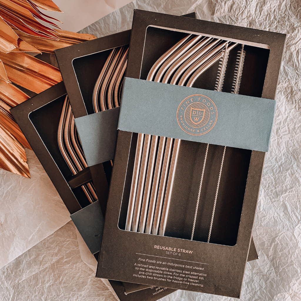 Metal Straws ~ Set of 6 ~ Fine Foods - Actually Boutique