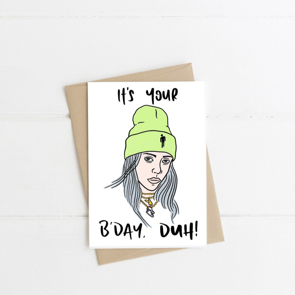 Billie Eilish ~  Greeting Card ~ K-Rae Designs - Actually Boutique