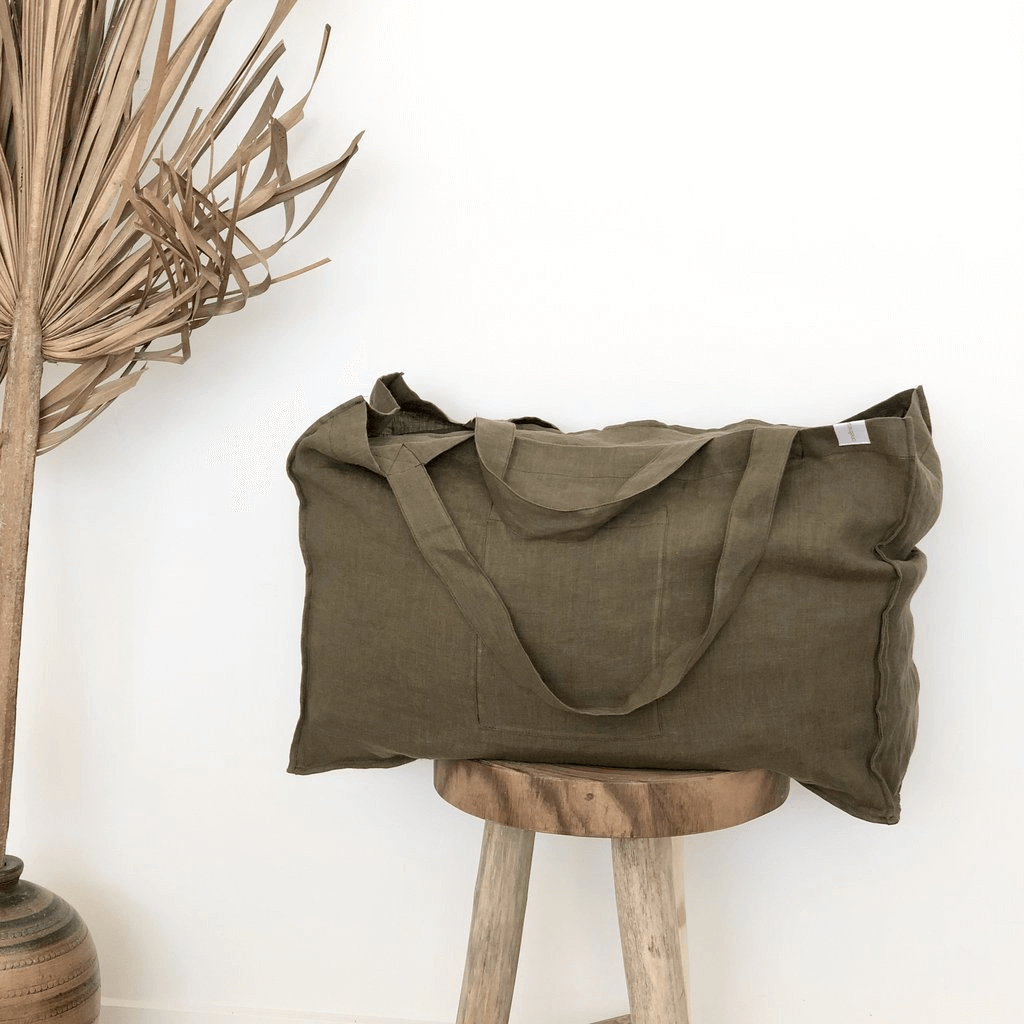 The Weekender Linen Tote ~ Moss ~ One Fine Sunday Co - Actually Boutique