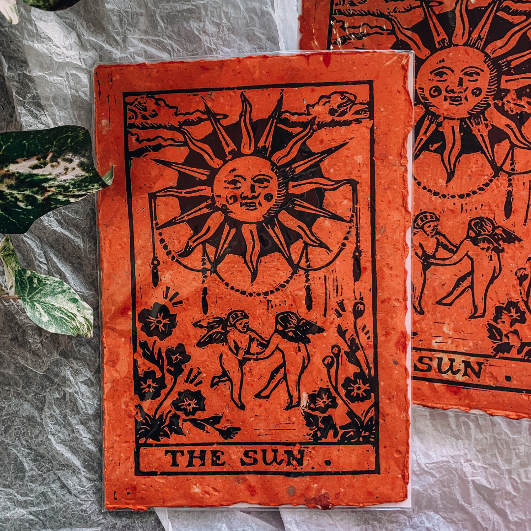 The Sun Tarot Card ~ Wooden Block Print ~ Cheersthanxalot - Actually Boutique