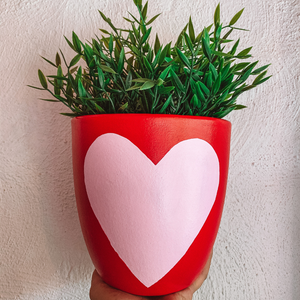 Love Heart Plant Pot ~ Pink & Red ~ B Jewelled Creations - Actually Boutique