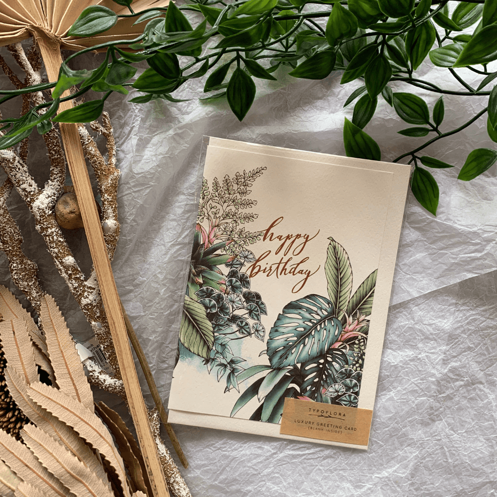 Tropical Birthday ~ Greeting Card ~ Typoflora - Actually Boutique