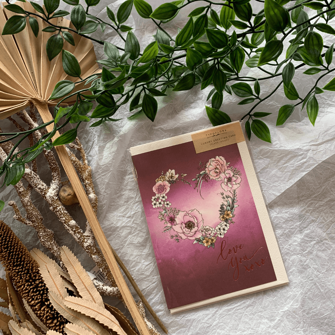 Love You Burgundy ~ Greeting Card ~ Typoflora - Actually Boutique