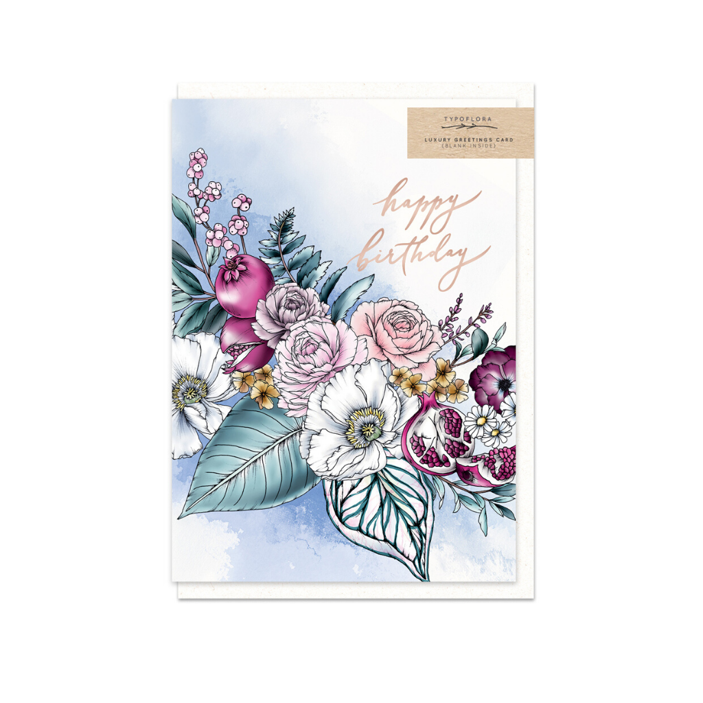 Poppies Birthday ~ Greeting Card ~ Typoflora - Actually Boutique