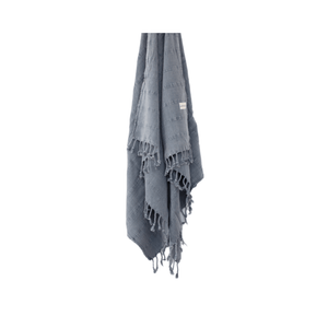 Luxe Stonewash Turkish Towel/Throw ~ Denim Grey ~ One Fine Sunday Co - Actually Boutique