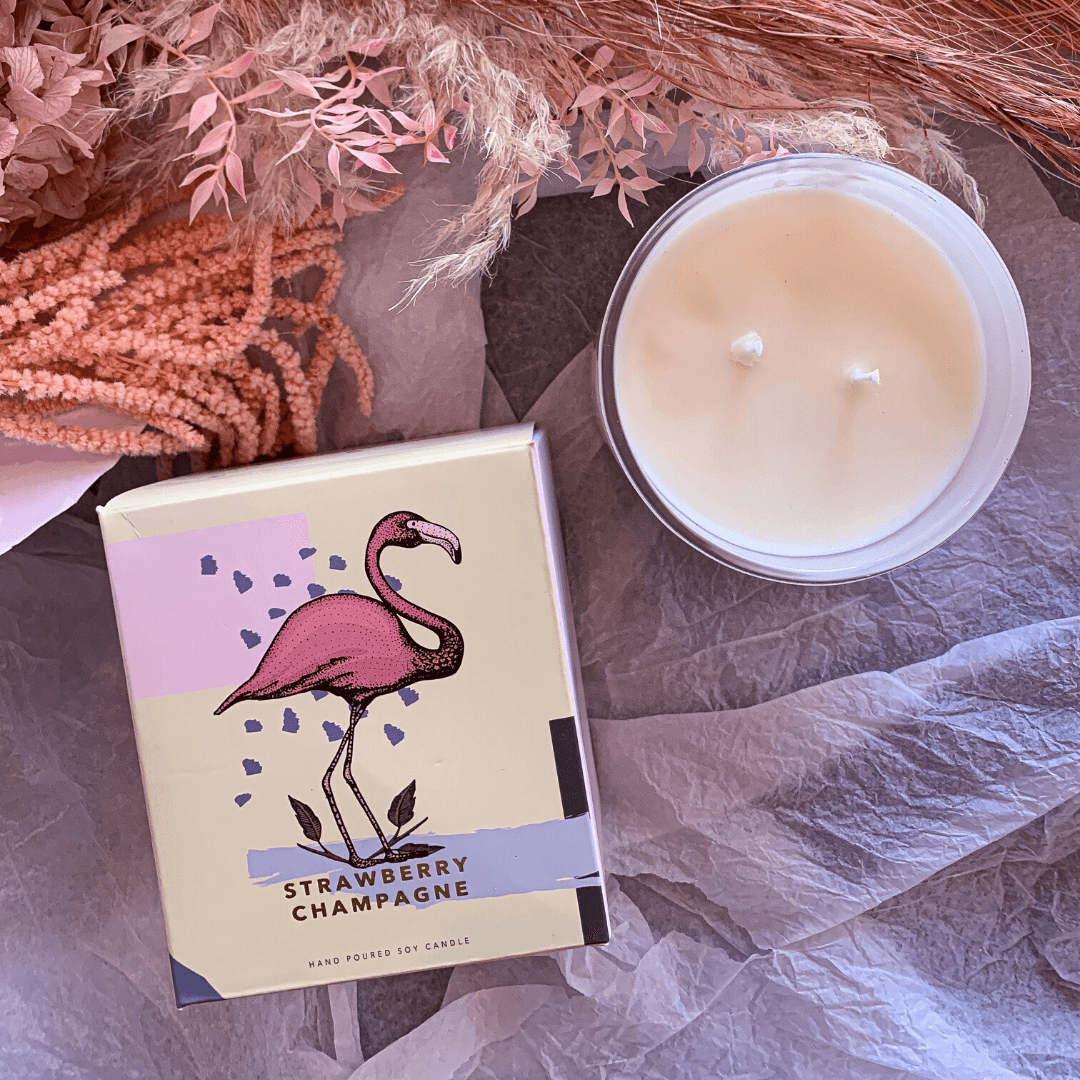Strawberry Champagne Scented Candle ~ Celia Loves - Actually Boutique