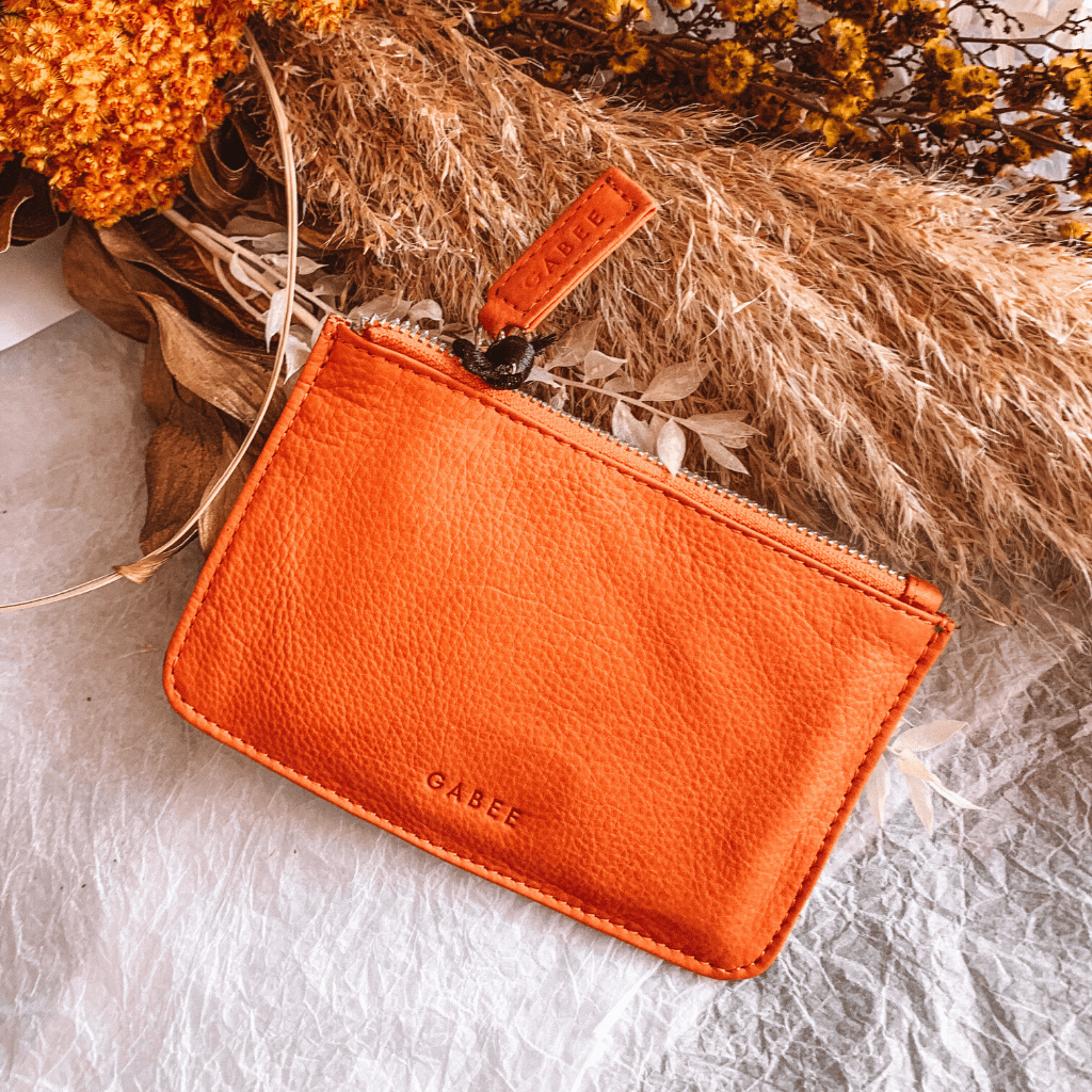 Village Leather Pouch ~ Orange - Actually Boutique