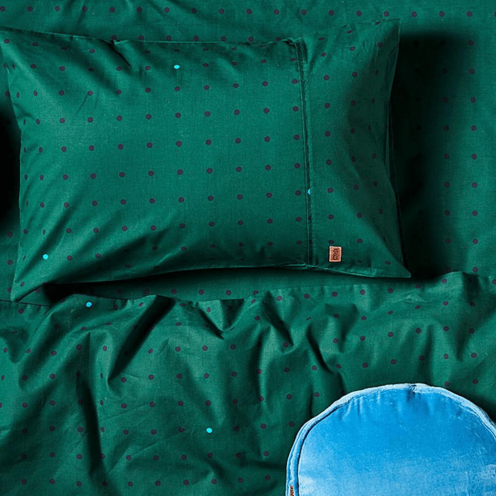 Cotton Flat Sheet ~ Green Dots ~ Kip and Co - Actually Boutique