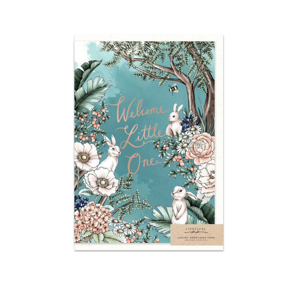 Welcome Little One ~ Greeting Card ~ Typoflora - Actually Boutique
