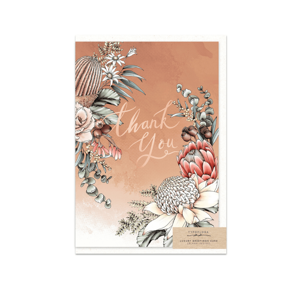 Banksia Thank You ~ Greeting Card ~ Typoflora - Actually Boutique