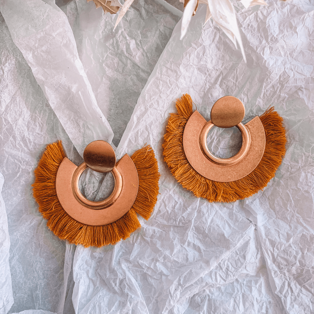 Fringe Earrings ~ Gold + Mustard - Actually Boutique