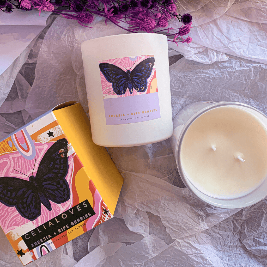Limited Edition Freesia + Ripe Berries Scented Candle ~ Celia Loves - Actually Boutique