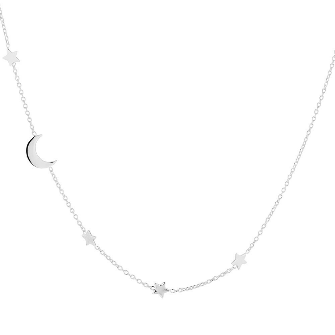 Star + Moon Necklace ~ Sterling Silver - Actually Boutique
