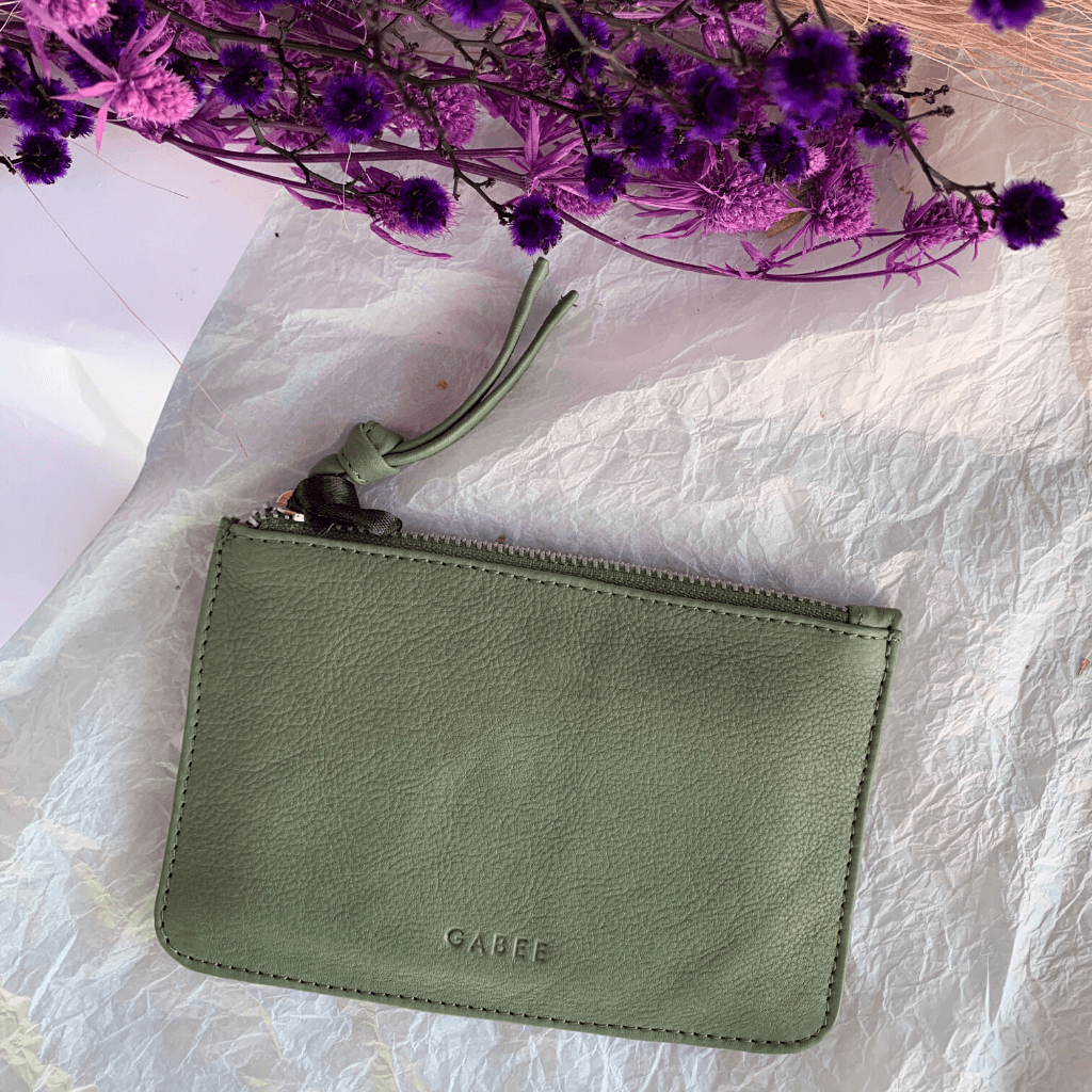 Village Leather Pouch ~ Olive - Actually Boutique