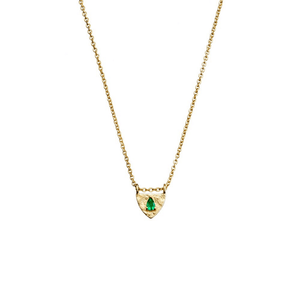 Shield Necklace ~ Gold and Emerald - Actually Boutique