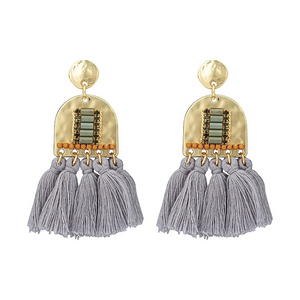 Tassel Earrings ~ Grey + Gold - Actually Boutique