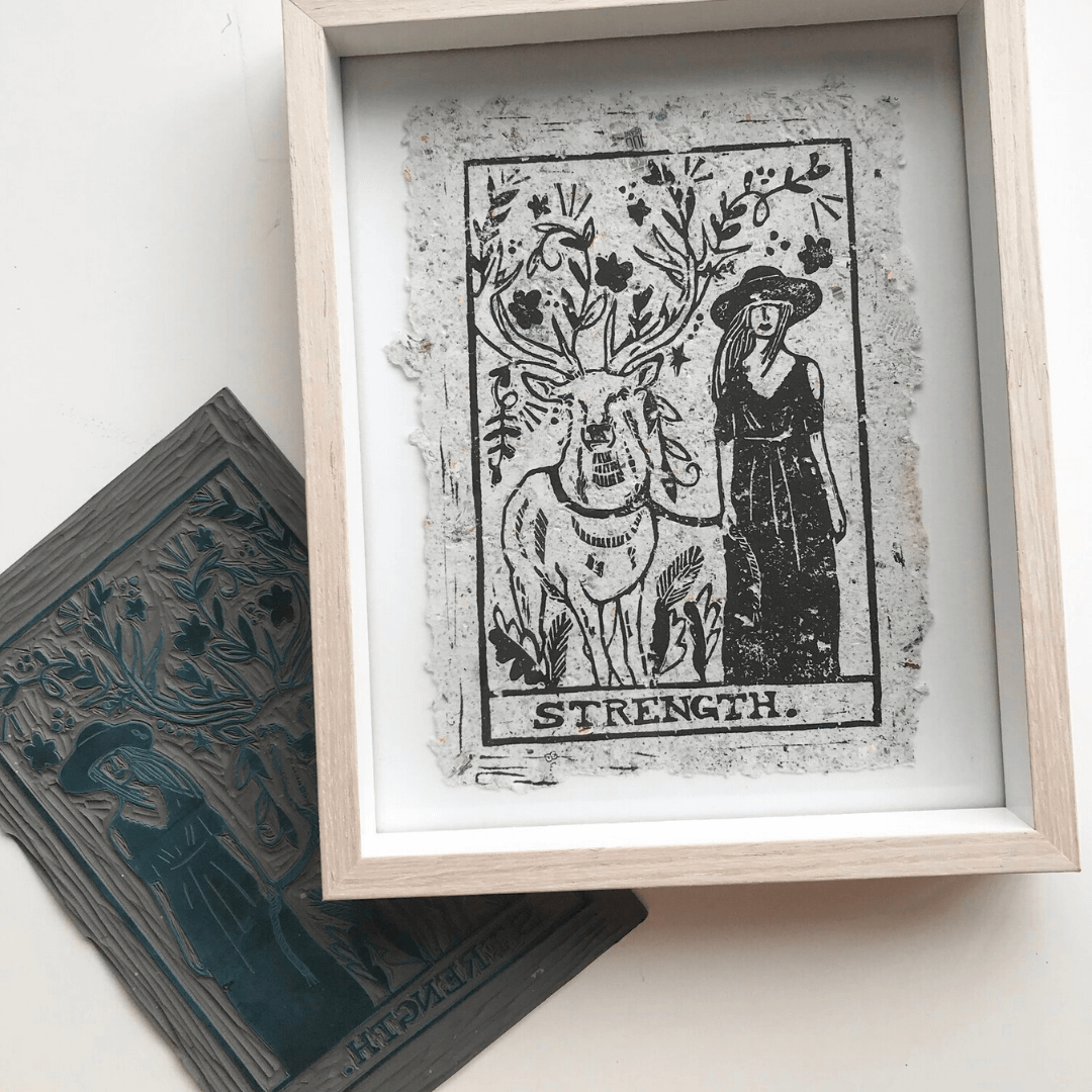 Strength Tarot Card ~ Wooden Block Print ~ Cheersthanxalot - Actually Boutique