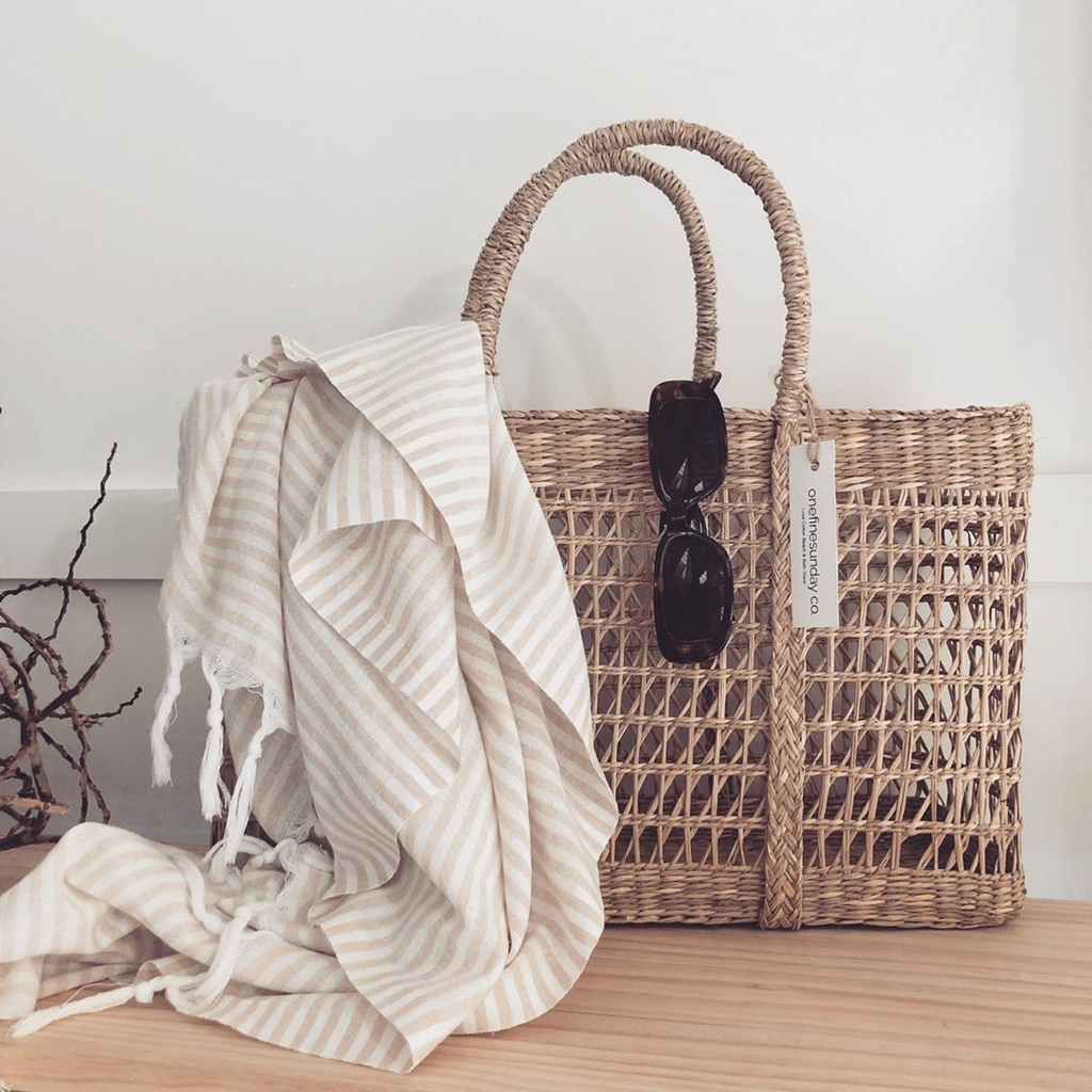 Classic Turkish Towel ~ Thin Striped Beige ~ One Fine Sunday Co - Actually Boutique