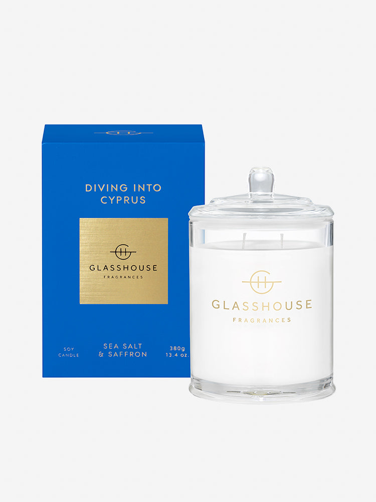 <b>Glasshouse Fragrances</b>  <br>Diving into Cyprus 380g Soy Candle