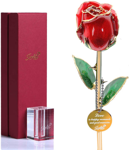 Valentines Day 24k Gold Dipped Rose Gifts for Women Mom Wife on Birthday Mother's Day Anniversary Christmas, Fresh Roses Presents Last Forever and Never Fade
