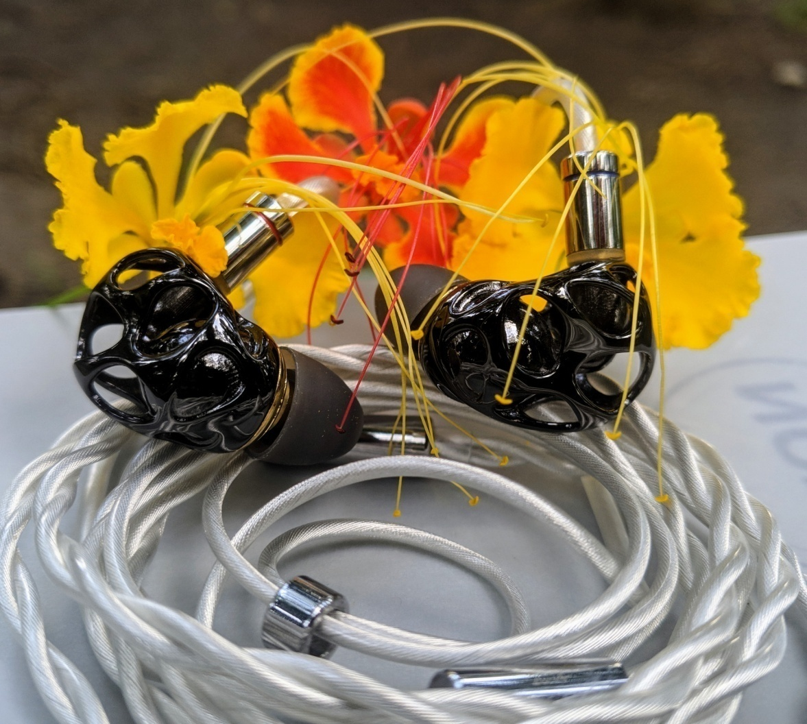 BL-A8 connected with cable besides flower
