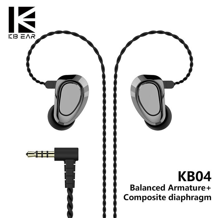 KBEAR KB04 1BA+1DD Hybrid driver HIFI stage DJ Monitor In Ear Earphone with 2 pin connector metal cable