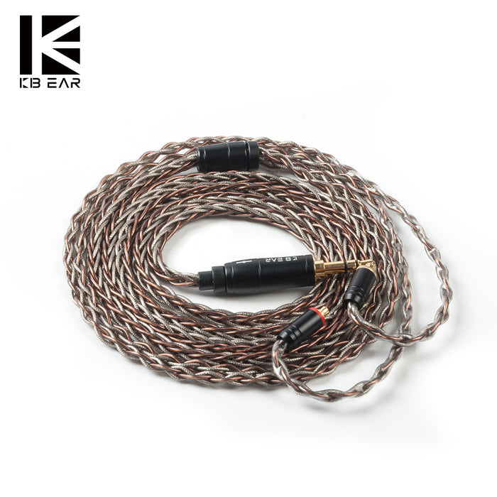 KBEAR Rhyme 8 core UPOCC single crystal copper cable 2pin/MMCX/QDC/TFZ with 2.5/3.5/4.4 material connector Earphone cable KBEAR KS2