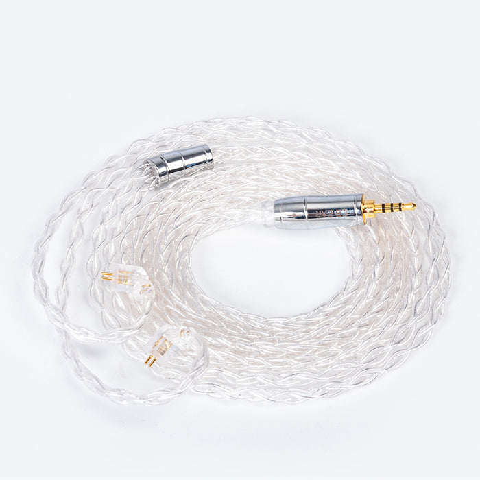 KBEAR Limpid Pro 8 Core Pure Silver Cable 2.5/3.5/4.4MM With MMCX/2pin/QDC Connector For KZ ZS10 Pro AS10 ZSX ZSN PRO/ TRI I3/ Tinhifi T2 Plus/ Blon BL01 BL03