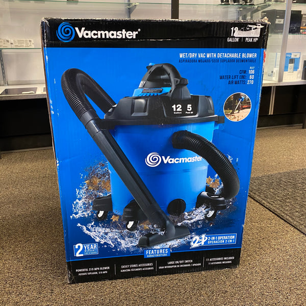 Vacmaster VBV1210 12 Gallon 5 Peak HP Wet/Dry Vac W/ Detachable Blower