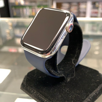 Apple Watch 44MM Series 5 Silver Stainless Steel - Navy Blue Band Unlocked