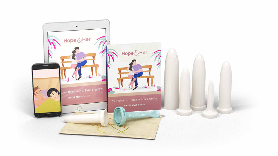 Complete Vaginismus Treatment Kit designed for overcoming vaginismus. Includes a set of vaginal dilators, book, video series, and ebook