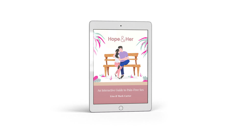 eBook on overcoming vaginismus and other pelvic disorders, an interactive guide to pain-free sex, by Mark and Lisa Carter, displayed on an ipad