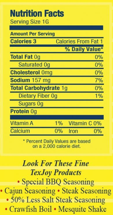Seasoning Nutritional Information