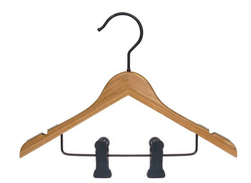 Children's Traditional Bamboo Hanger with Clips Amber (100)
