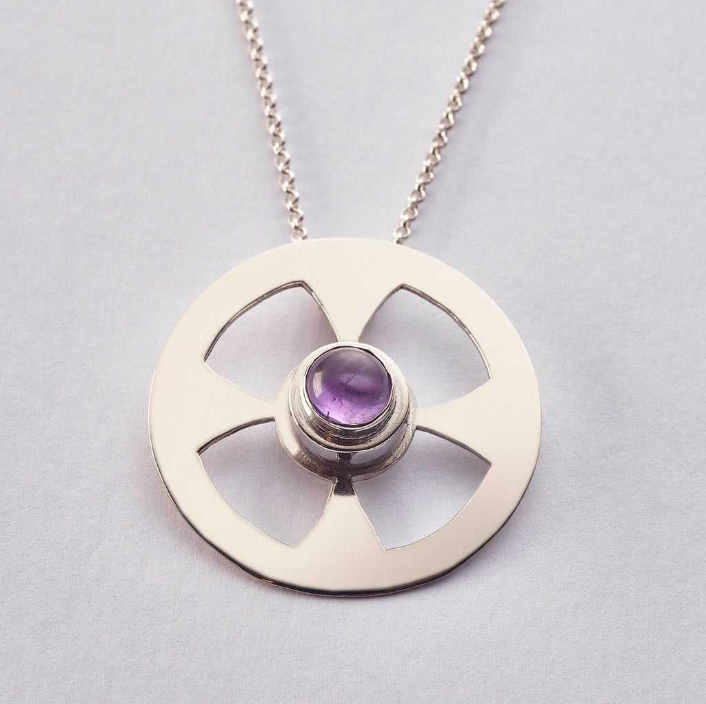 Celtic Contemporary Cross in sterling silver with Amethyst