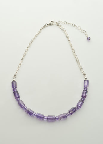 Amethyst (Light) Necklace with Sterling Silver Chain
