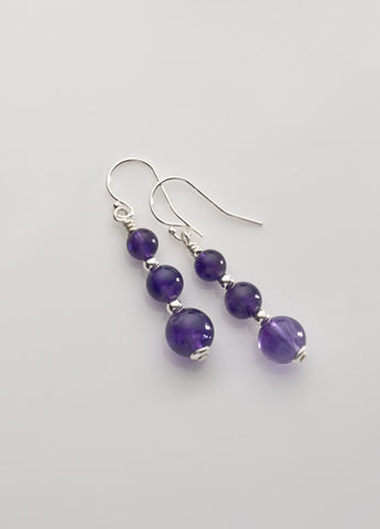 Amethyst (mid-tone) 3-bead Earrings with Sterling Silver