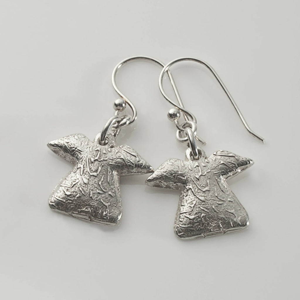 Abstract angel earrings in sterling silver