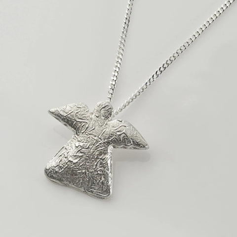 Abstract angel pendant in sterling silver