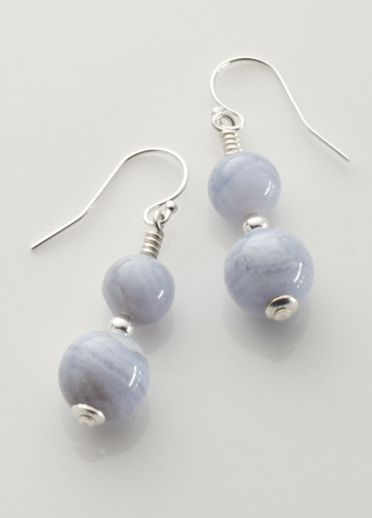 Blue Lace Agate 2-bead Earrings with Sterling Silver